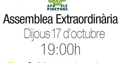 Assemblea Extraordinària 17 octubre a les 19h